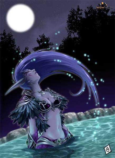 Найт-эльфийка с шикарными волосами, арт
