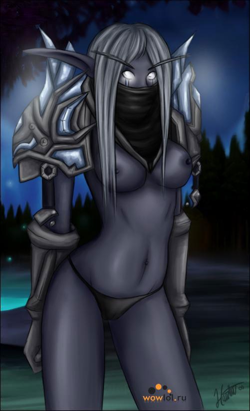 полу не одетая эльфийка рога wowart