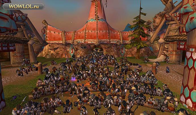 Все таурены из множества игровых миров собрались в Громовом Утесе, чтобы почтить Кэрна Кровавое Копыто за день до выхода Cataclysm. Теперь вождя больше нет с нами.