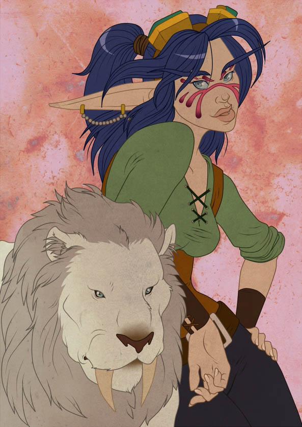 Ночная эльфийка и тигр