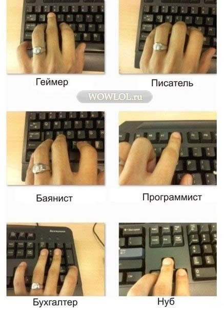 Как определить тип человека, по  положению пальцев на клавиатуре