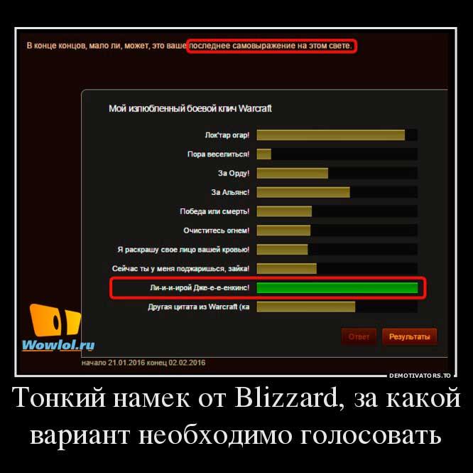 Сложный выбор от Blizzard