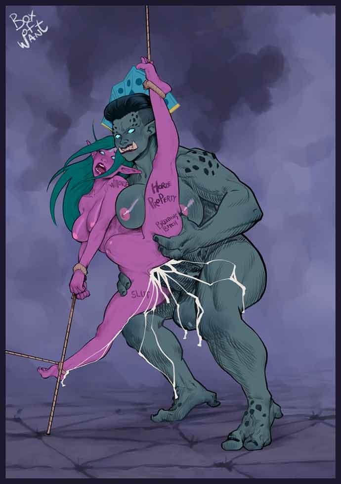 орк развлекается с фиолетовой