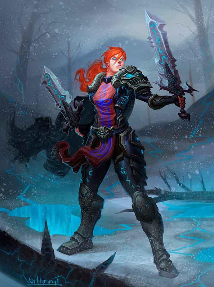 рыжая с мечами
