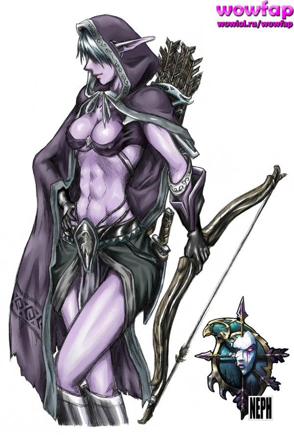 эльфийка с луком в руках